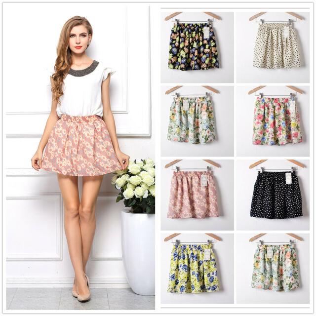 Fashion Women Summer Chiffon Floral Short Mini Dress Skirt Pleated Elastic Waist