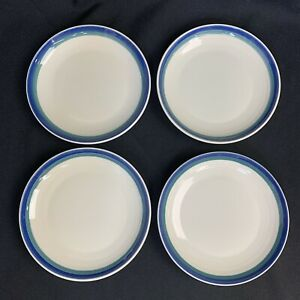 4-Pfaltzgraff-Northwinds-Green-Blue-Bands-Dessert-Salad-Plates-USA-VIntage-90s