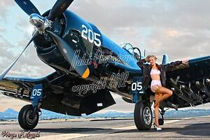 Wings-of-Angels-Malak-Pin-Up-Print-Ashten-A-Leg-Up-Vintage-WWII-F4U-4-Corsair