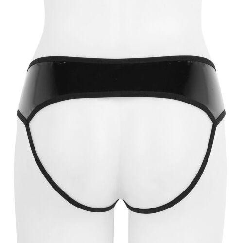 Womens Wetlook Leather Zipper Underwear Panties Boxer Shorts Brief Bikini Thongs