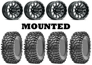 Kit 4 Maxxis Roxxzilla Hard Tires 30x10-14 on Raceline Trophy Matte Black 1KXP