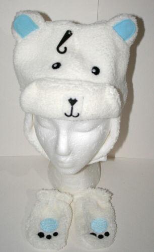 Cute Fuzzy Polar Bear Winter Cap /& Gloves New Toddler /& Infant Mitten Hat Set