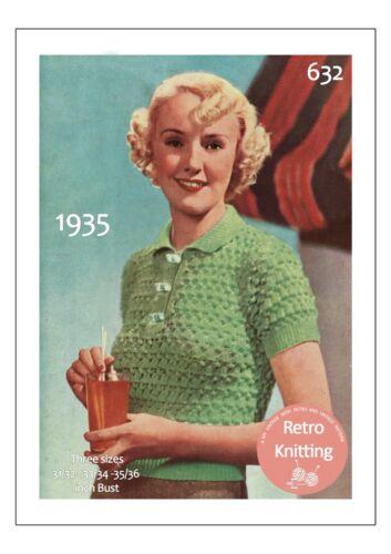 Década de 1930 encaje damas camisa POLO Tejer patrón Busto 34-36