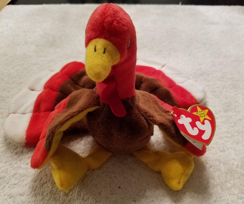 1996 Ty Beanie Babie Gobbles The Turkey w Tags & & & (2) Errors c0ab2b