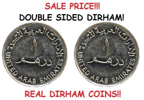 DOUBLE SIDED UAE DIRHAM COIN AED ARAB EMIRATE DIRHAM DOUBLE HEADED // TAILED