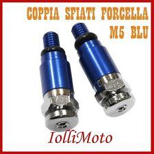 COPPIA SFIATI FORCELLA BLU M5 P. 0.8 MOTO CROSS ENDURO OFF ROAD PIT BIKE