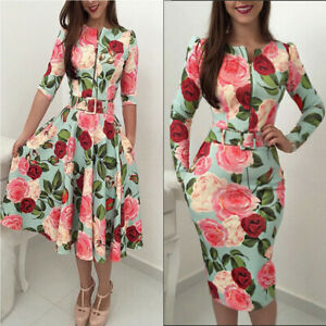 Women-Floral-Print-Tunic-Long-Half-Sleeved-Skater-Bodycon-Evening-Party-Dress