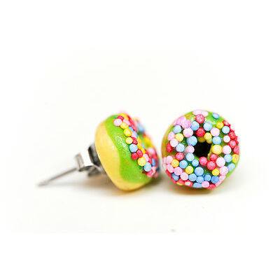 Lime Green Donut /  Doughnut - sprinkles Stud Earrings-Kawaii Kitsch -Rockabilly