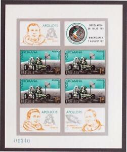 ROMANIA-1971-SPACE-XF-ImPerf-MNH-Sheet-Apollo-15-Astronauts-Espace-Spazo