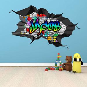 Personalisiert 3d Graffiti Jeder Name Cracked Wandkunst Aufkleber Wandsticker Ebay