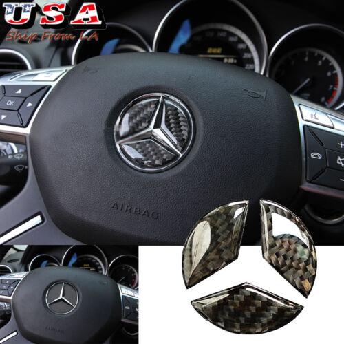Carbon Fiber Steering Wheel Center Logo Gap Filler Sticker Trim For Mercedes
