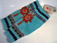 Lost Horizons Hand Knit Leg Warmers Teal Blue 100% Wool Nepal Model Simma Mt