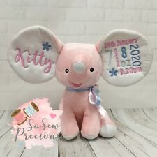 Personalised Cubbies Dumble Elephant, New Baby Teddy Bear Gift, Choice of colour