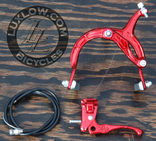 Red Old School BMX Bike MX Front Brake Lever Cable Caliper VintageCruiserBicycle