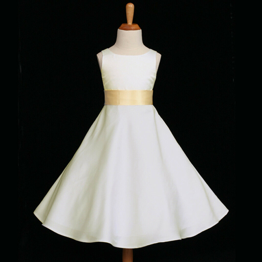 IVORY/YELLOW A-LINE EASTER WEDDING FLOWER GIRL DRESS 12-18M 2 4 6 8 10 12 14 16