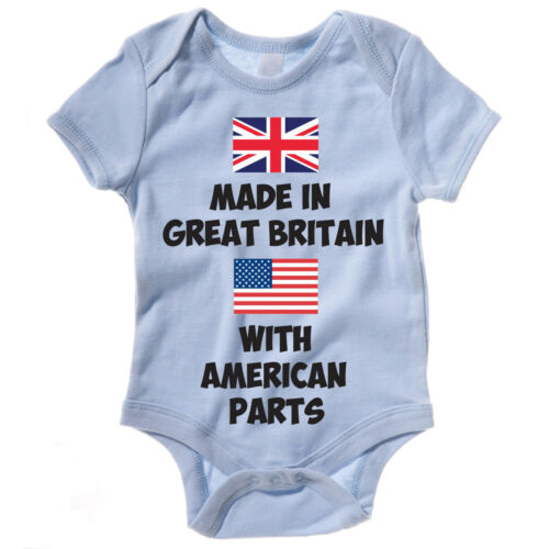Vest Body Suit Funny Baby Grow MADE IN GREAT BRITAIN WITH AMERICAN PARTS