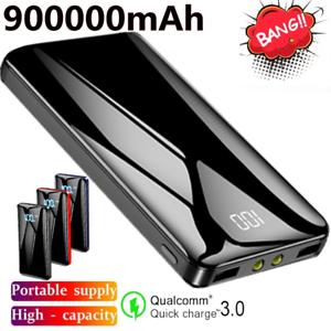 900000mAh Power Bank Dual USB UltraThin Portable External Battery Backup Charger