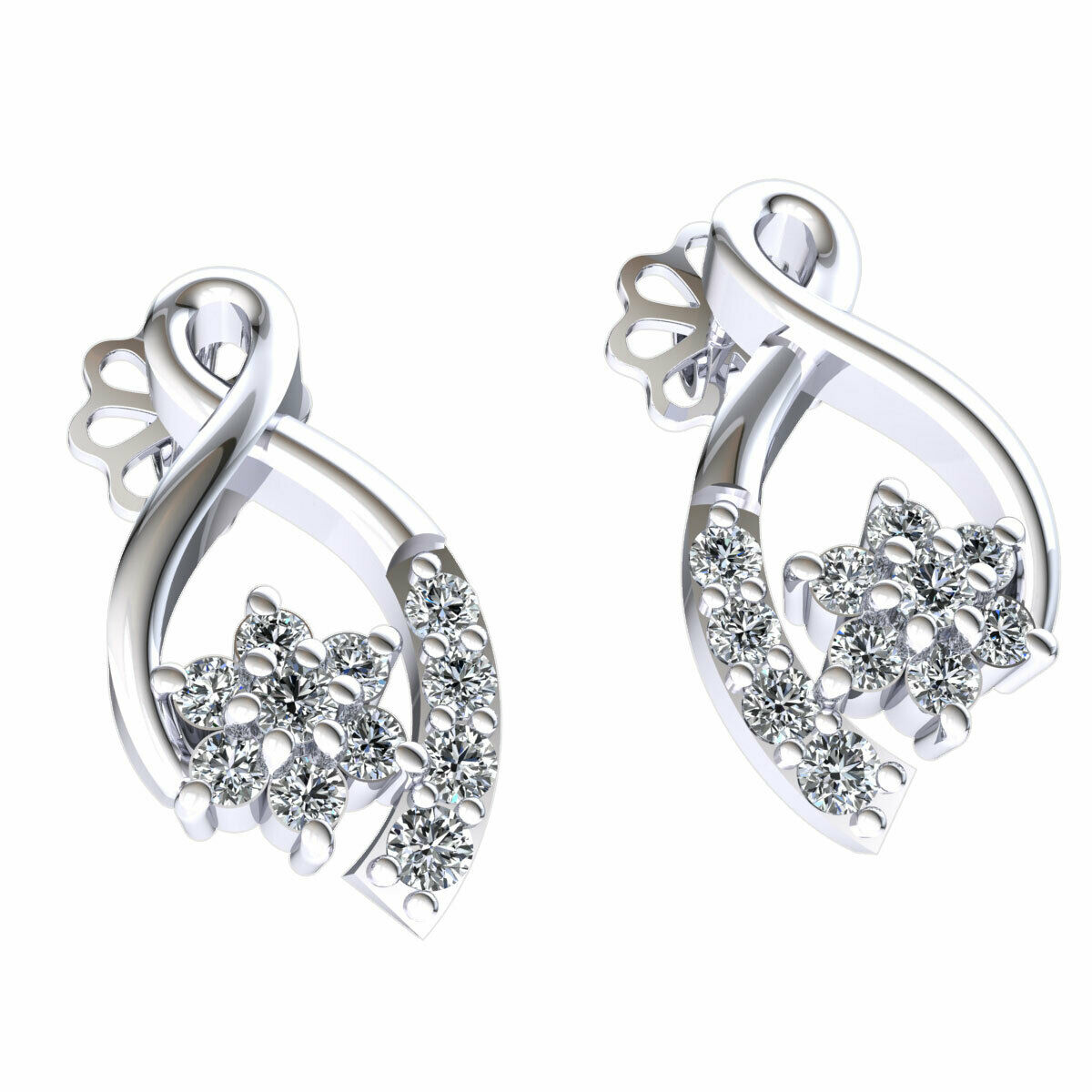 Natural 0.25carat Round Cut Diamond Ladies Ribbon Flower Earrings 18K gold