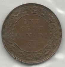 CANADA, 1914, LARGE ONE CENT, BRONZE, KM#21, CHOICE ALMOST UNCIRCULATED