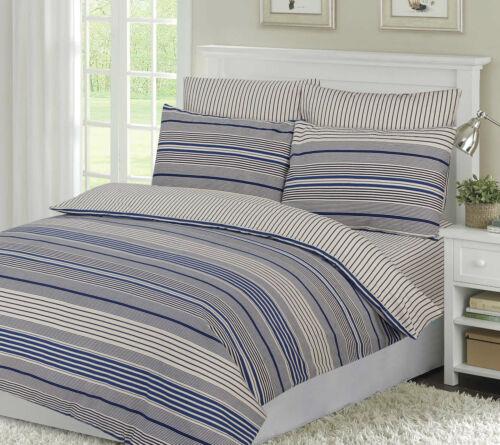 Dalton Stripe Blue Cosy Flannelette 100/% Brushed Cotton Complete Sheet Set