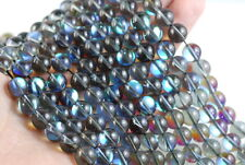 12MM MYSTIC AURA QUARTZ GEMSTONE MATTE TITANIUM GREY  ROUND LOOSE BEADS 15/""