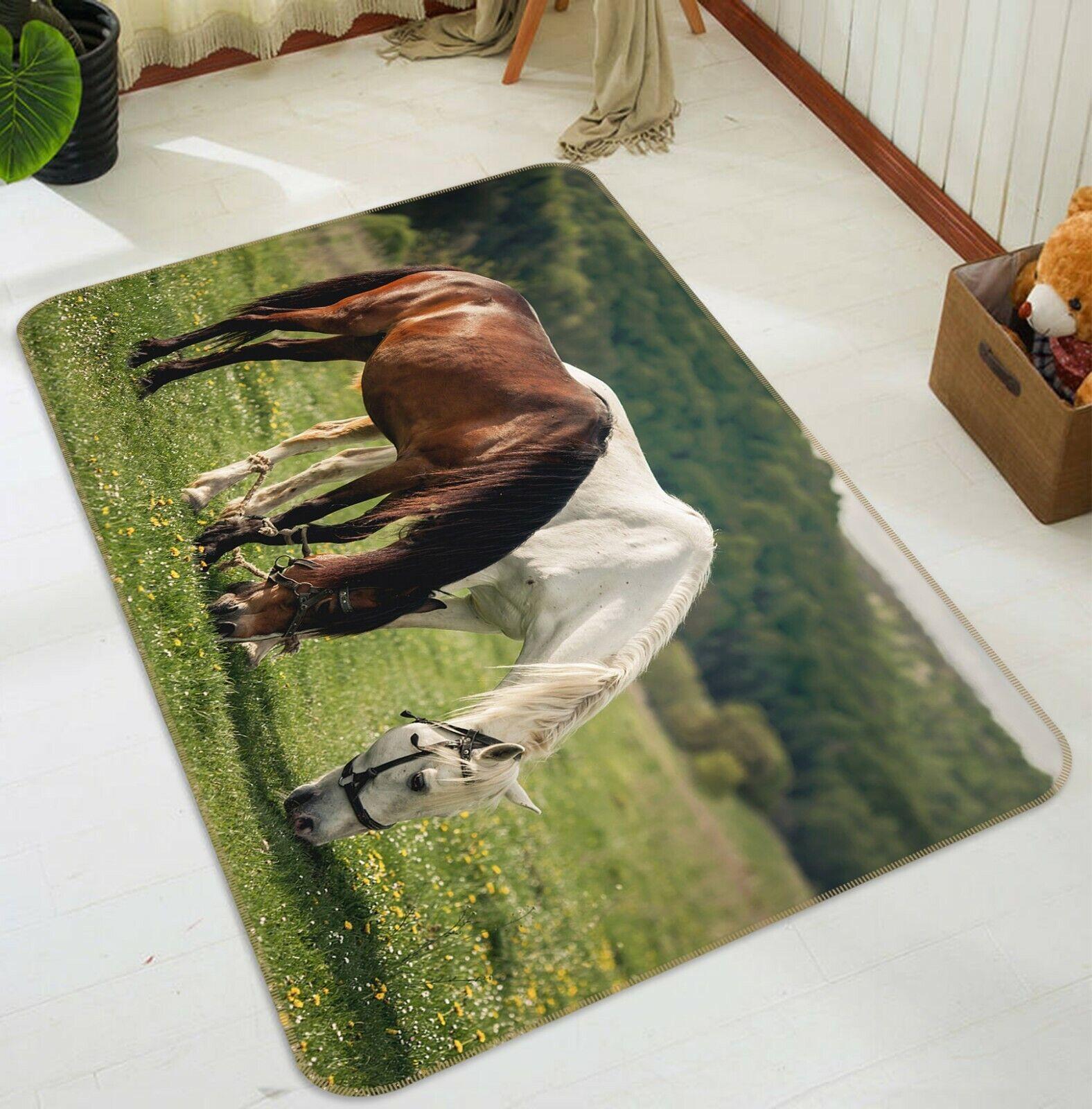 3D Prairie Cavallo C057 Animale tappetino antiscivolo tappeto rossoondo elegante Tappeto Wendy