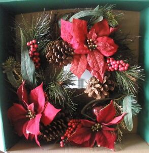 New-Holiday-Time-20-034-Red-Poinsettia-Pine-Wreath-Christmas-Door-Winter-Decoration