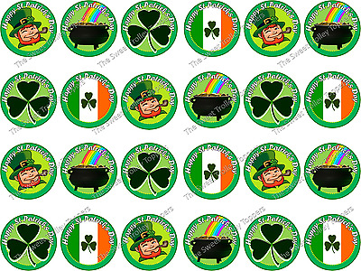 24 x ST PATRICKS DAY EDIBLE CUPCAKE TOPPERS CAKE WAFER RICE PAPER 8073