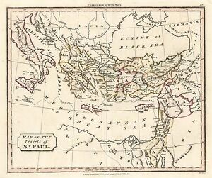 1830 Travels Of St Paul Greece Turkey Asia Minor Middle East Map