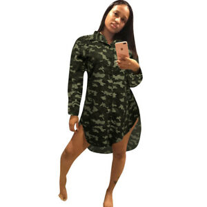 f5564c6350 Details about Women Long Sleeve Camouflage Print Single-breasted Loose  Casual Shirt Dress