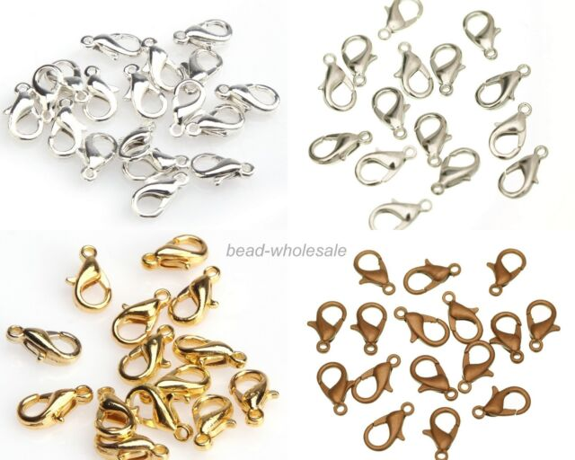100Pcs Silver Gold Copper Plated Lobster Clasps Hooks Findings DIY 10mm 12mm