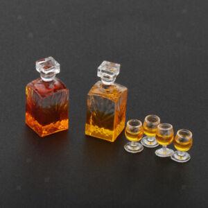 1-12-Dollhouse-Miniature-Whisky-Bouteille-De-Vin-Et-Des-Tasses-Pub-Boisson