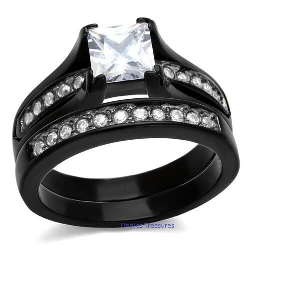 Princess CZ Wedding Ring Set Size 5-11 Black IP Stainless Steel 6 mm  2.10 ct