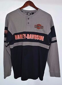 Mens-Small-Harley-Davidson-Motorcycles-Oil-Embroidered-Striped-Shirt