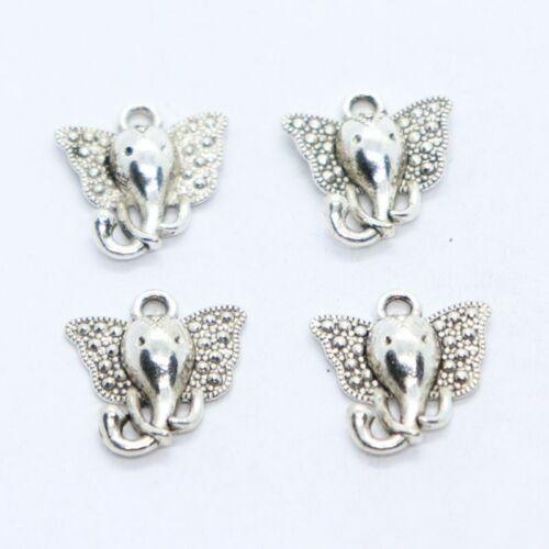 16//48pcs Tibetan Silver Elephant head Charms Pendants Beads Jewelry Findings