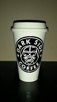 Dark side coffee  Plastic Reusable Travel Mug green Darth Vader Star Wars