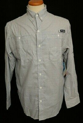 Activewear Tops Fashion Style New Columbia Pfg Super Tamiami Ls Omni-shade Plaid Navy Button Up Polo Men's S