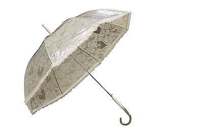 Ladies Ivory Lace Effect Umbrella Stylish/Waterproof/Wedding/Bridal/Brolly UU179