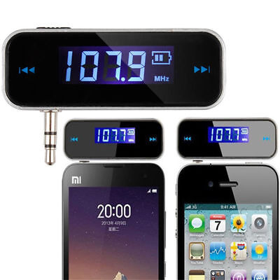 Black Silver 3.5mm Car FM Transmitter Adapter Cell Phone Audio Music to Stereo