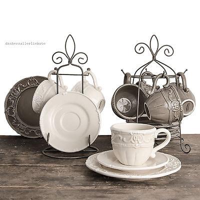 Tassen Set Service Kaffeetasse Teller Teetasse Service Shabby Keramik