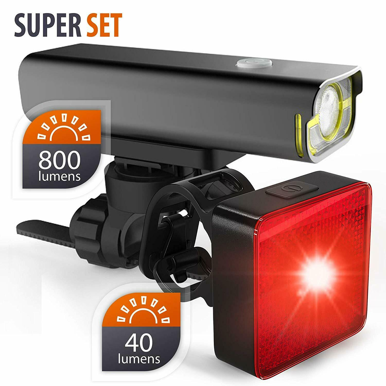 Luces LED delanteras y traseras para bicicletas -Faro 800lm  trasera 40 lúmenes  choices with low price