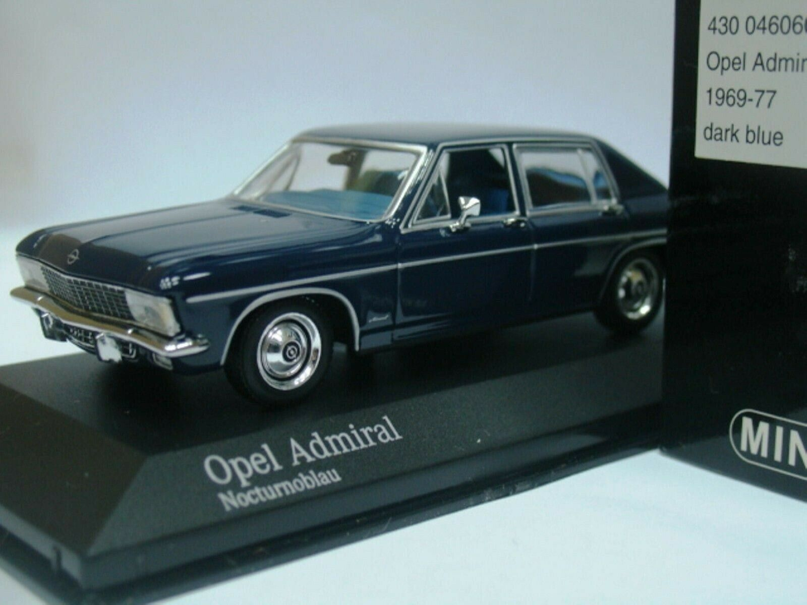 WOW EXTREMELY EXTREMELY EXTREMELY RARE Opel Admiral B 2.8L I6 Auto 1974 bluee 1 43 Minichamps-Rekord 2b3e67
