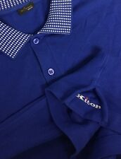 $695 KITON Polo *2017!* Tipped Blue ~LOGO GUSSETS~ luxury Polo shirt 50 M