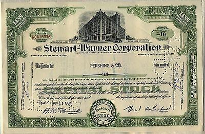 Stewart Warner Corporation Stock Certificate Virginia