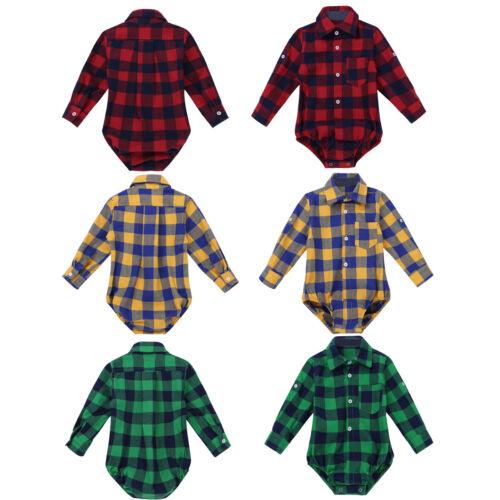 Hemdbody Oberhemd für Jungen Kariert Baby Body Langarmhemd Bodysuit Strampler