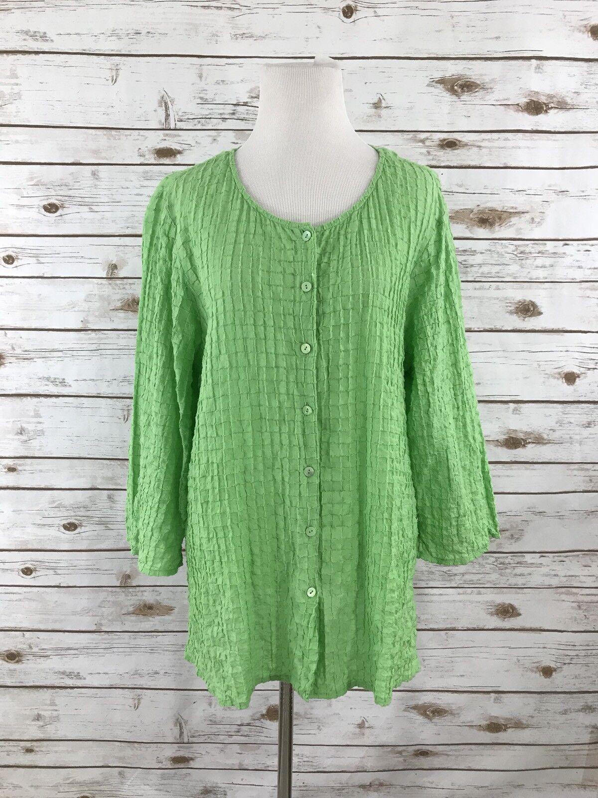 Eileen Fisher M Green Cotton Spandex Textured Open Weave Blouse
