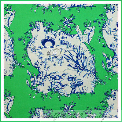 BonEful Fabric FQ Cotton Flower Toile OWL Bird Green Leaf Scenic Mushroom Quilt