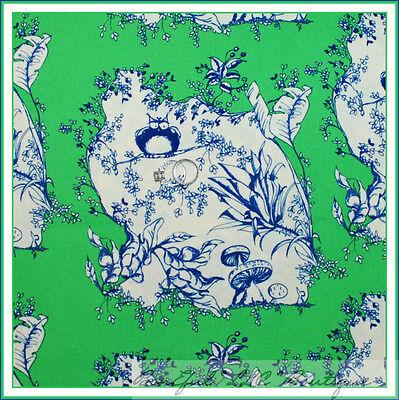 BonEful Fabric FQ Cotton Flower Toile OWL Bird Green Leaf Scenic Mushroom Quilt