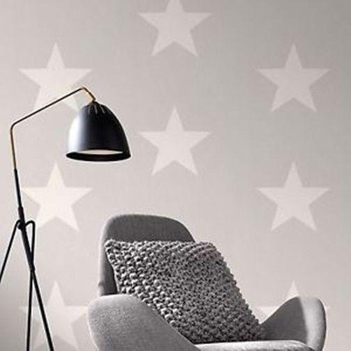 Rasch Stars Grey White Feature Wallpaper 248135