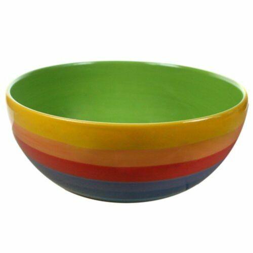 barbecue pour intérieur//extérieur salle à manger Rainbow Stripe Design Salad Bowl for Picnics